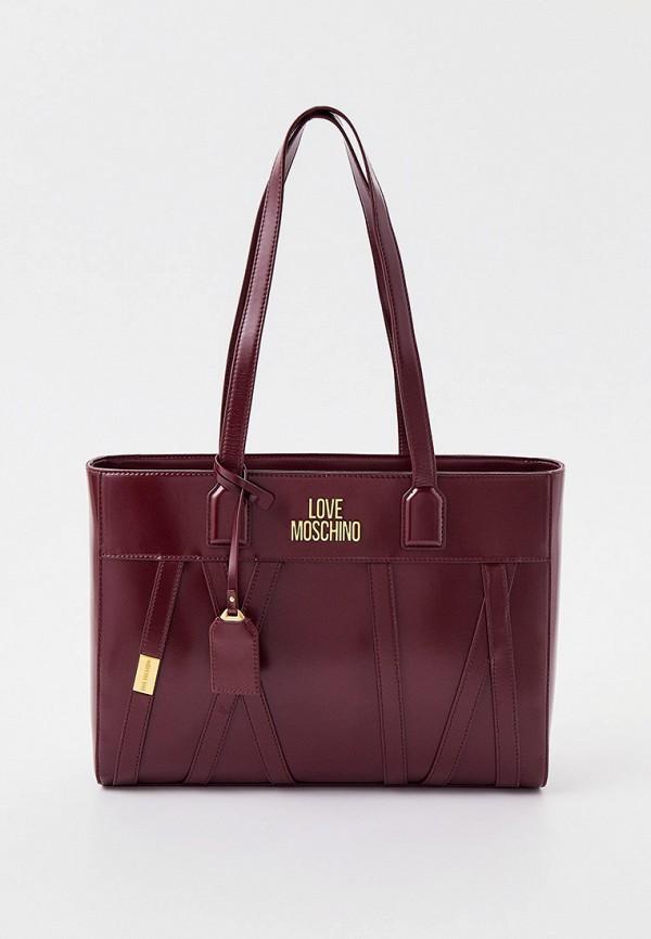 женская сумка с ручками love moschino, бордовая