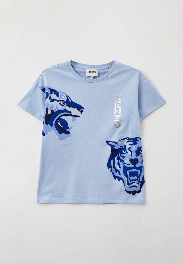 футболка с коротким рукавом kenzo для девочки, голубая