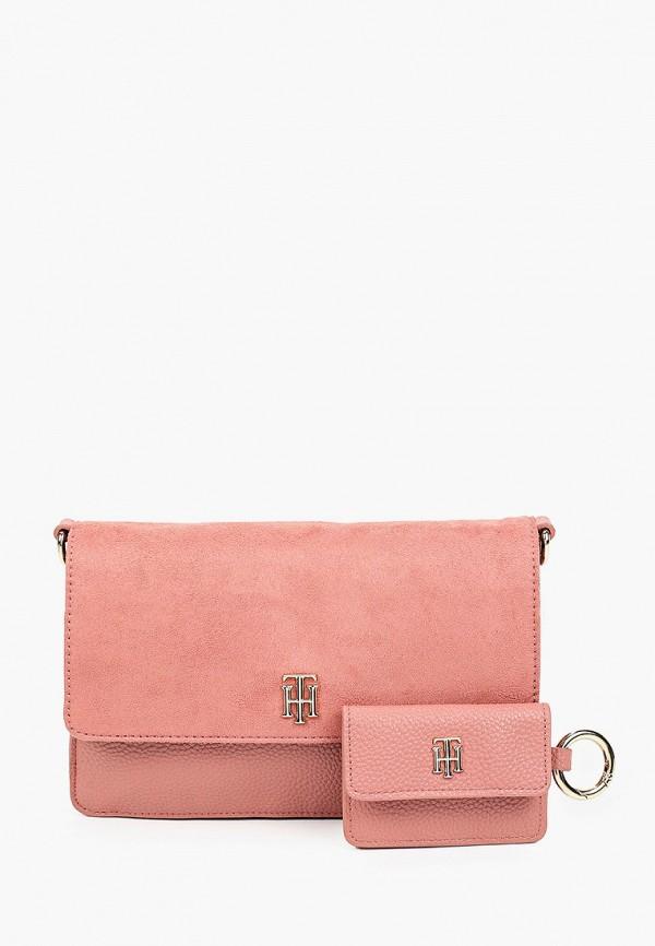 женский кошелёк через плечо tommy hilfiger, розовый