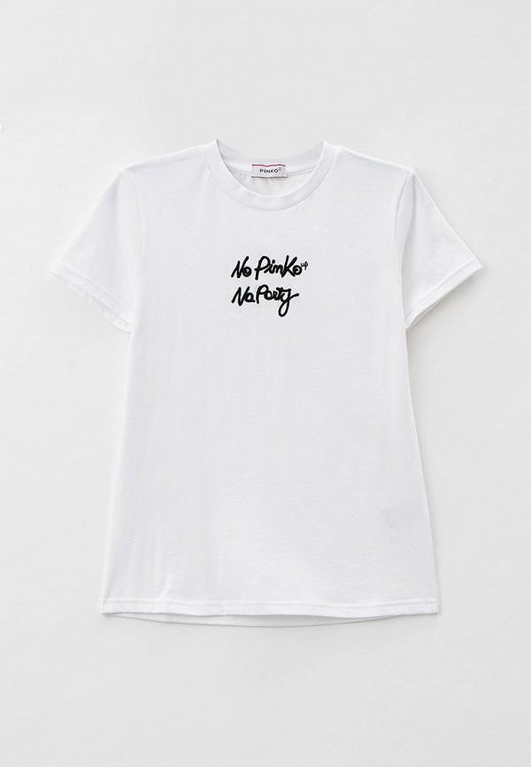 футболка с коротким рукавом pinko up для девочки, белая