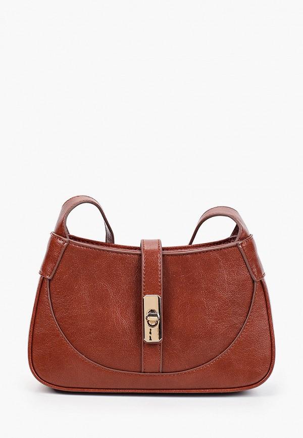 женская сумка через плечо mango, коричневая