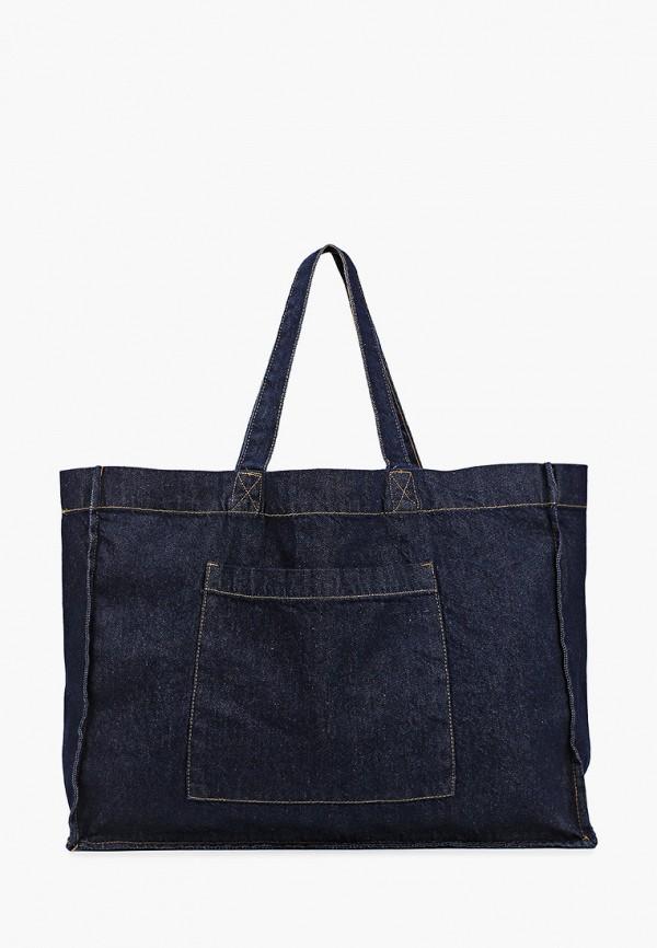 женская сумка с ручками mango, синяя