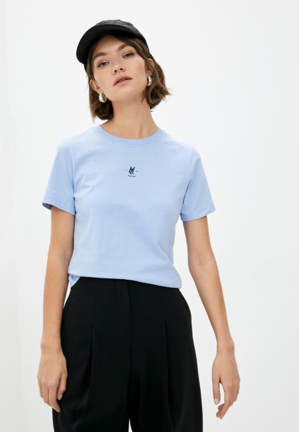 женская футболка helmut lang, голубая
