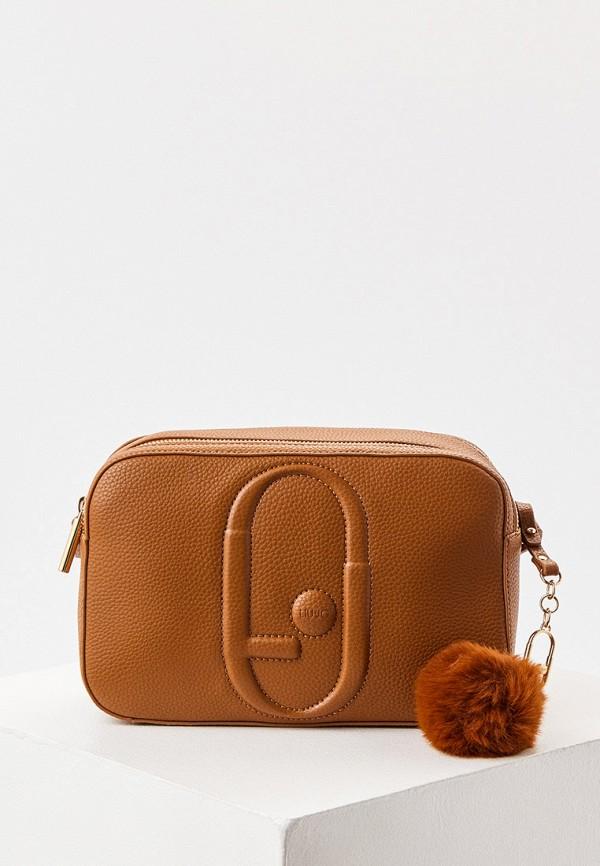 женская сумка через плечо liu jo, коричневая