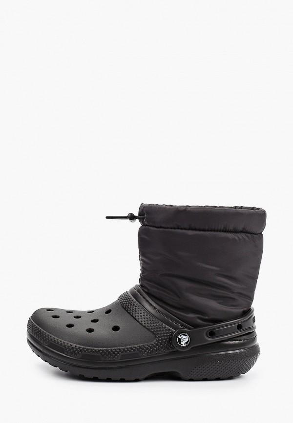 женские дутики crocs, черные