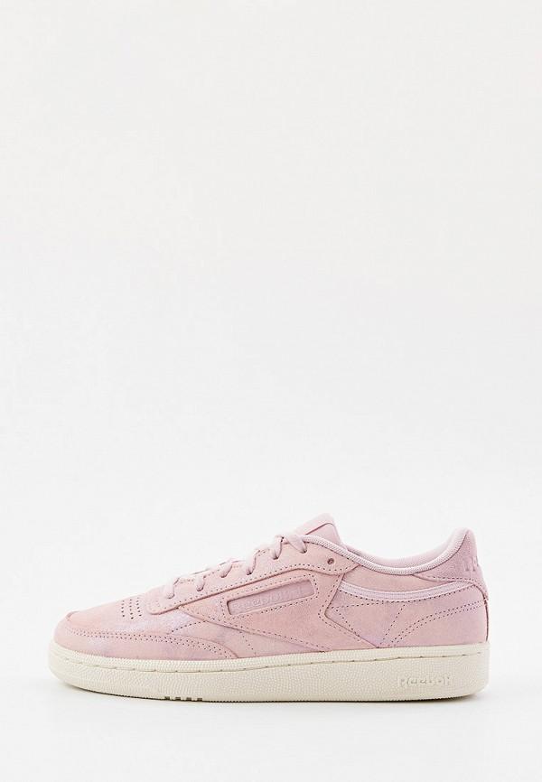 женские низкие кеды reebok classic, розовые