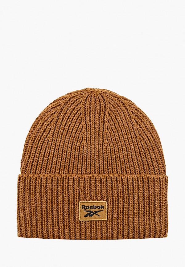 женская шапка reebok classic, коричневая