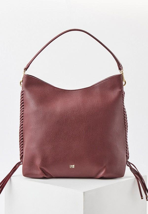 женская сумка с ручками cavalli class, бордовая
