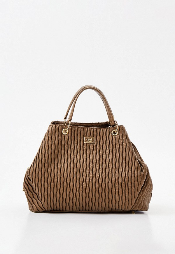 женская сумка с ручками cavalli class, коричневая