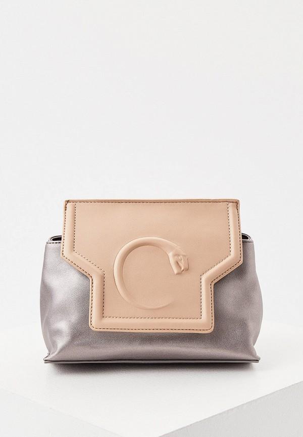 женская сумка cavalli class, серебряная