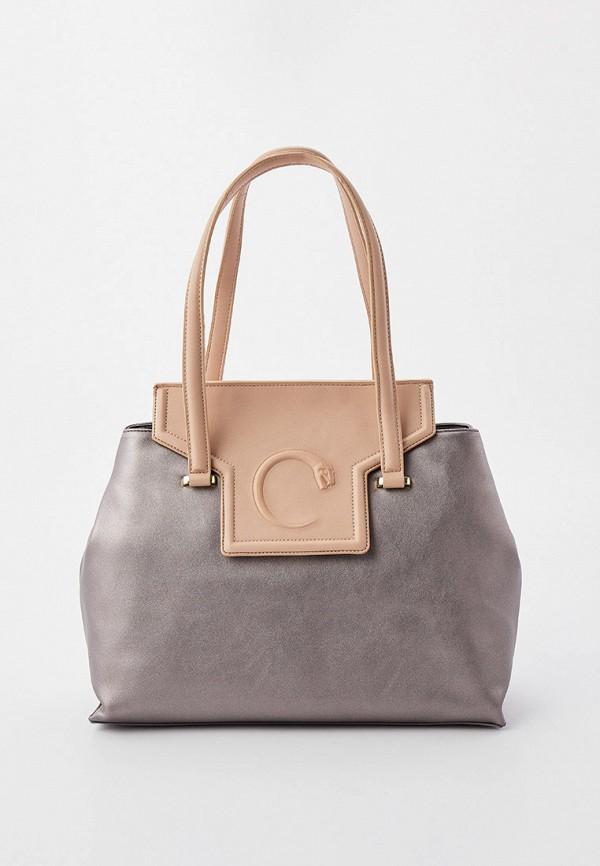 женская сумка с ручками cavalli class, серебряная