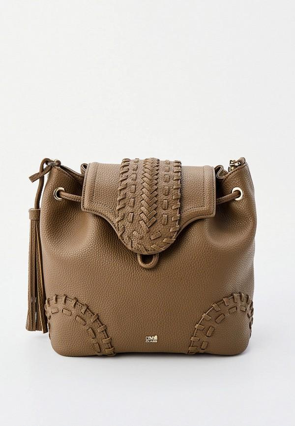 женская сумка через плечо cavalli class, коричневая