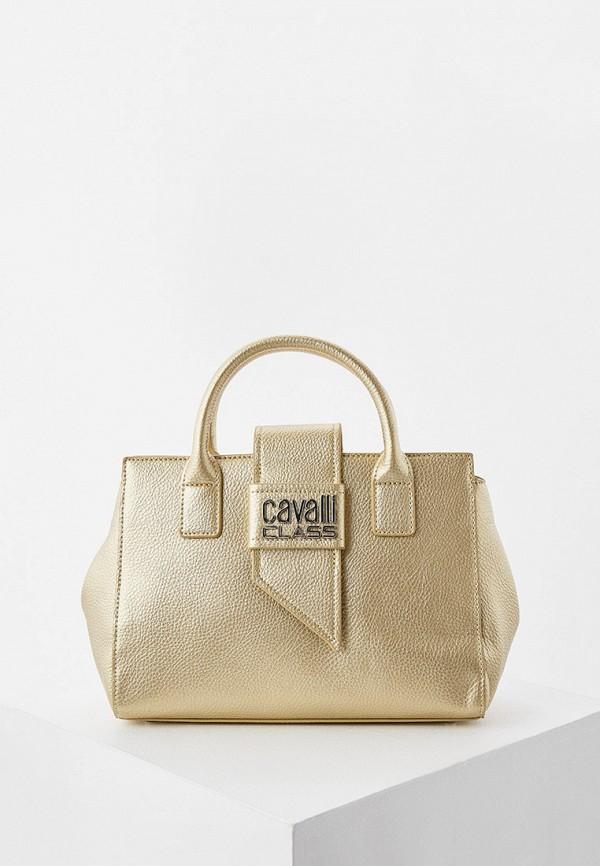 женская сумка с ручками cavalli class, золотая