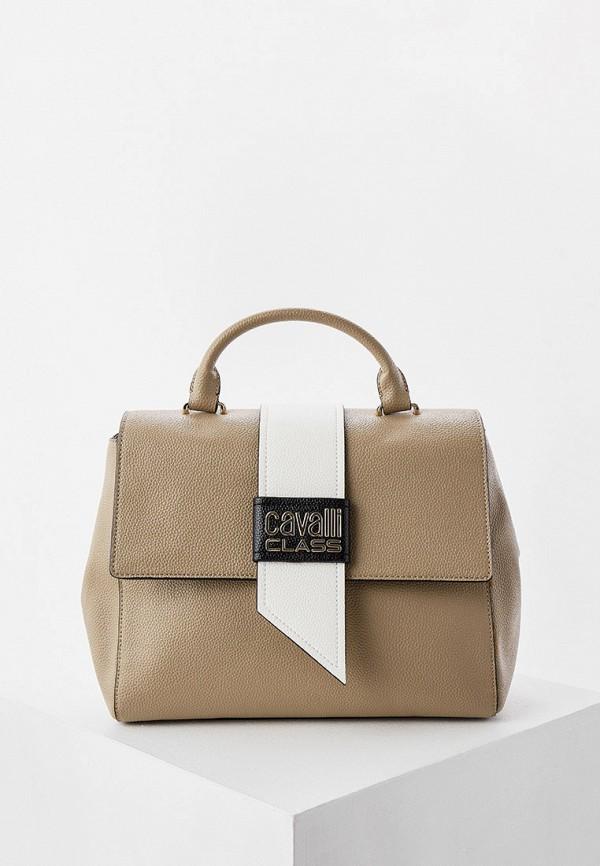 женская сумка cavalli class, бежевая