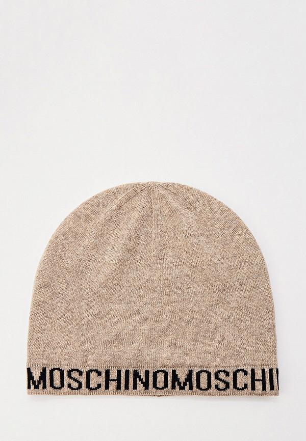 женская шапка moschino, коричневая