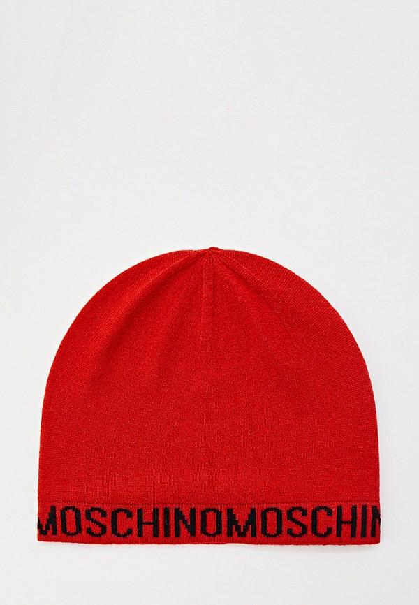 женская шапка moschino, красная