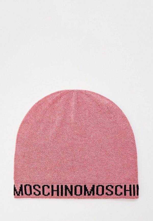 женская шапка moschino, розовая