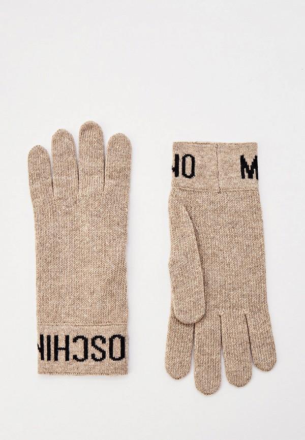 женские перчатки moschino, бежевые