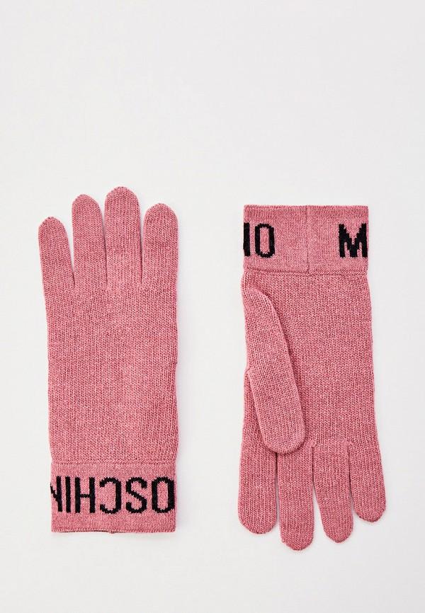 женские перчатки moschino, розовые