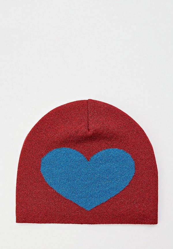 женская шапка moschino, бордовая
