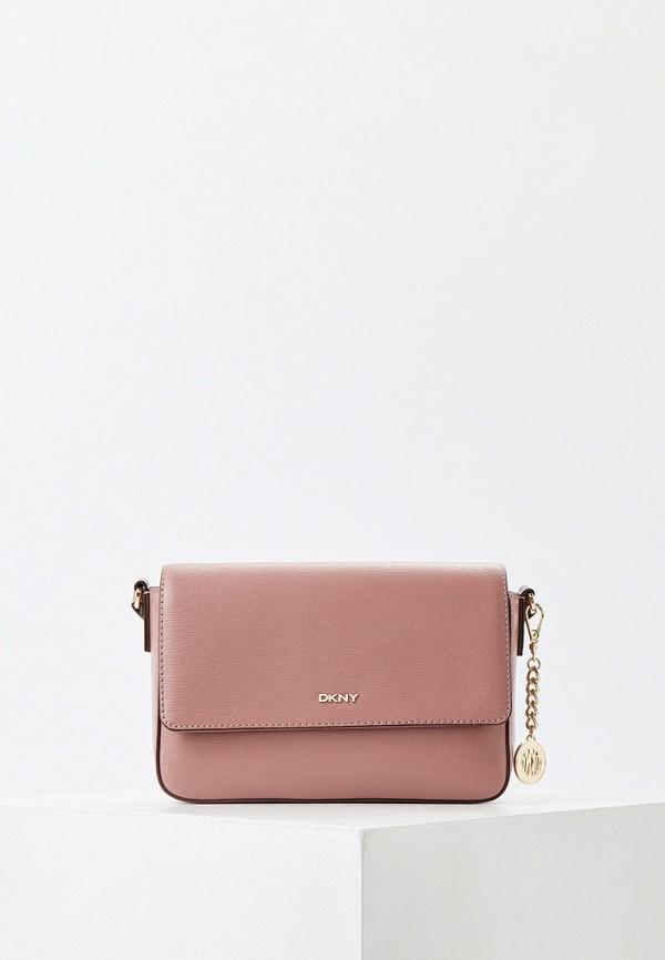 женская сумка через плечо dkny, розовая