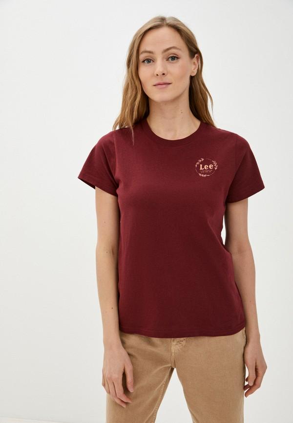 женская футболка lee, бордовая
