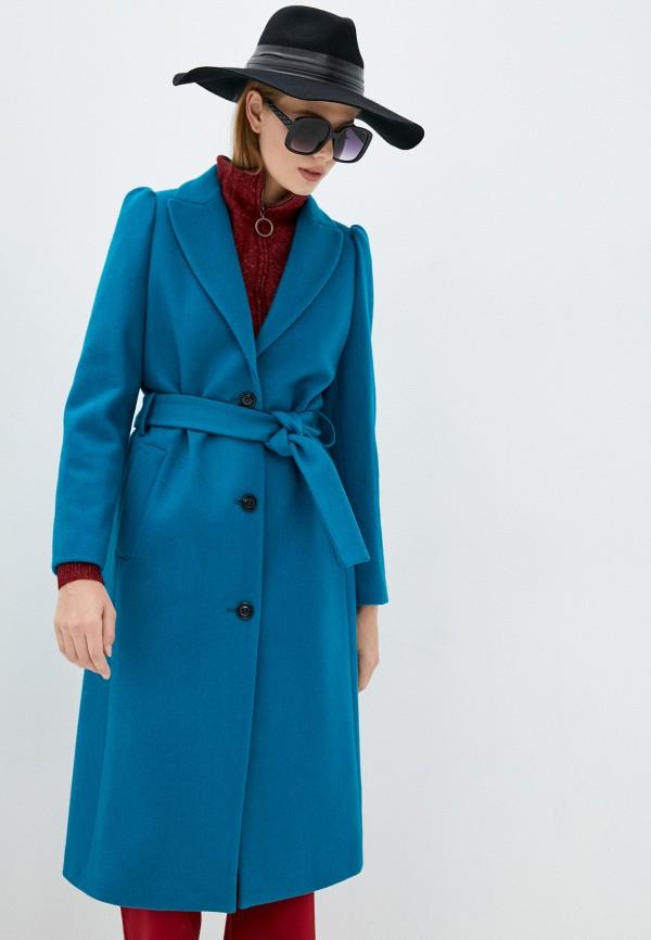 женское пальто united colors of benetton, бирюзовое