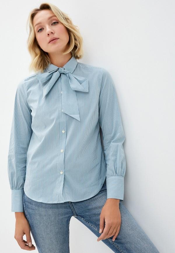 женская рубашка с длинным рукавом united colors of benetton, бирюзовая
