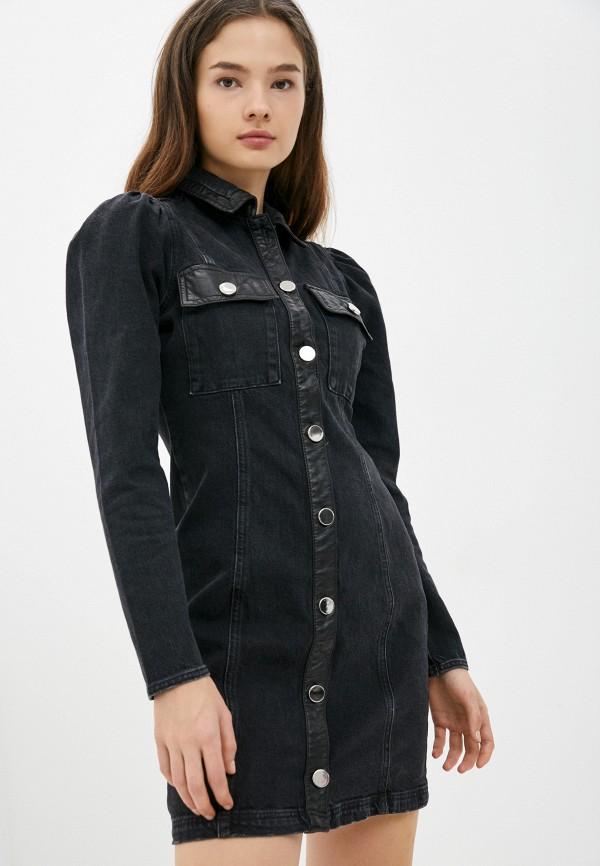 женское джинсовые платье river island, черное