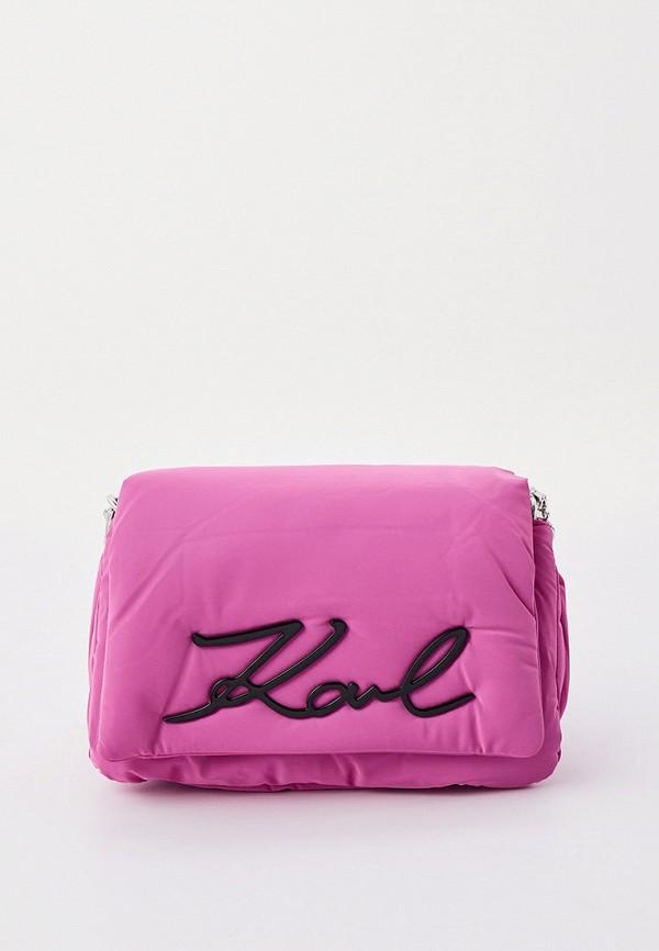 женская сумка с ручками karl lagerfeld, розовая