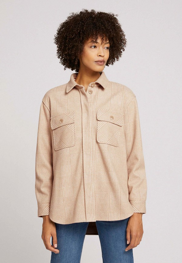женская рубашка с длинным рукавом tom tailor, бежевая