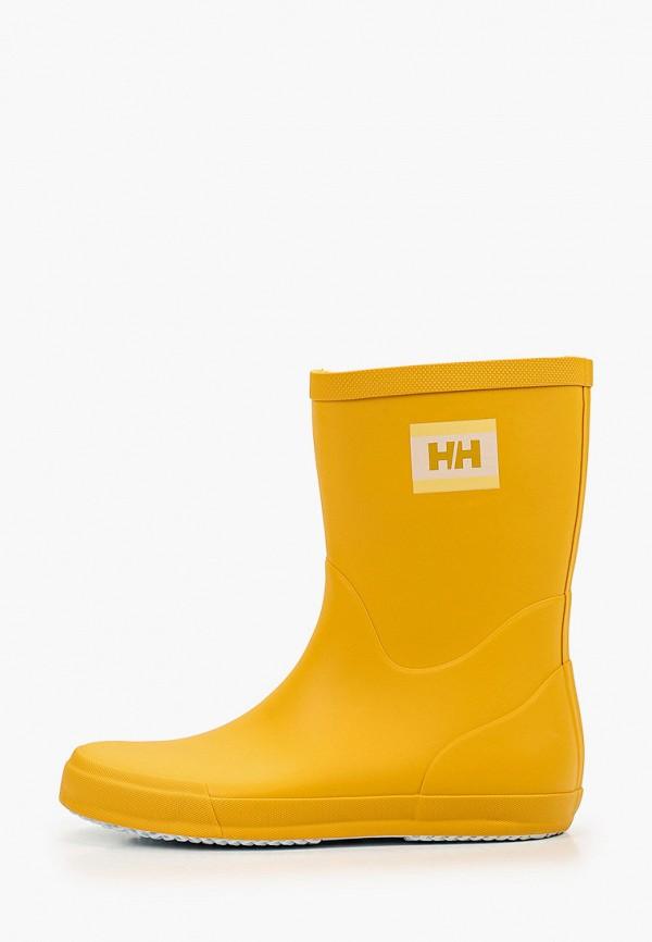женские резиновые полусапожки helly hansen, желтые