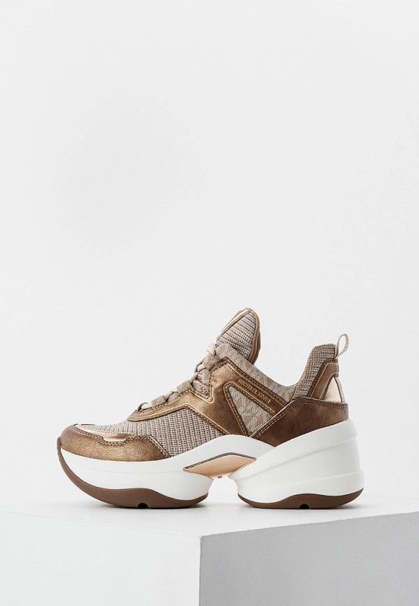 женские высокие кроссовки michael kors, коричневые