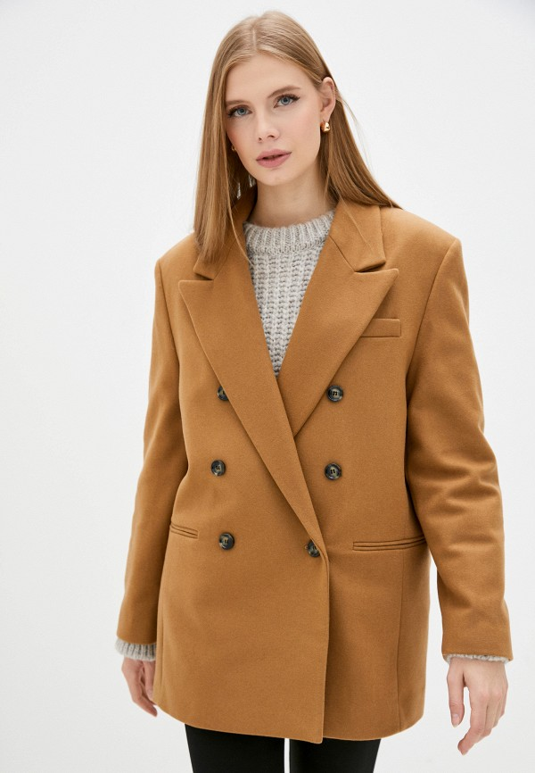 женский пиджак mango, коричневый