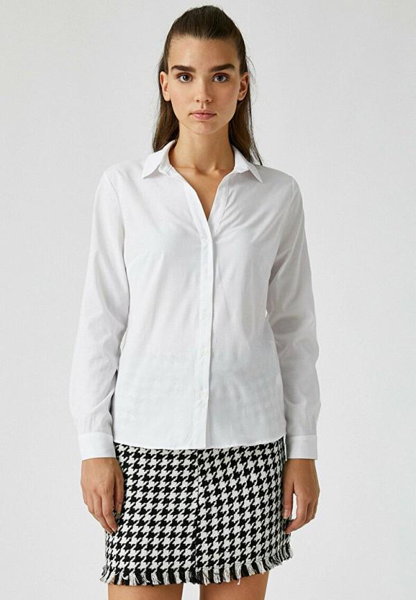 женская рубашка с длинным рукавом koton, белая