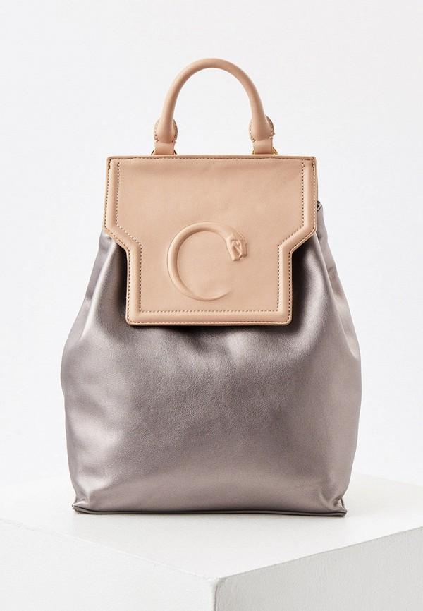 женский рюкзак cavalli class, серебряный
