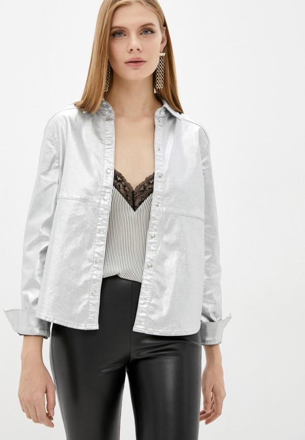 женская джинсовые рубашка patrizia pepe, серебряная