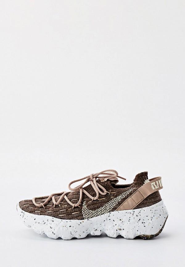 женские низкие кроссовки nike, коричневые
