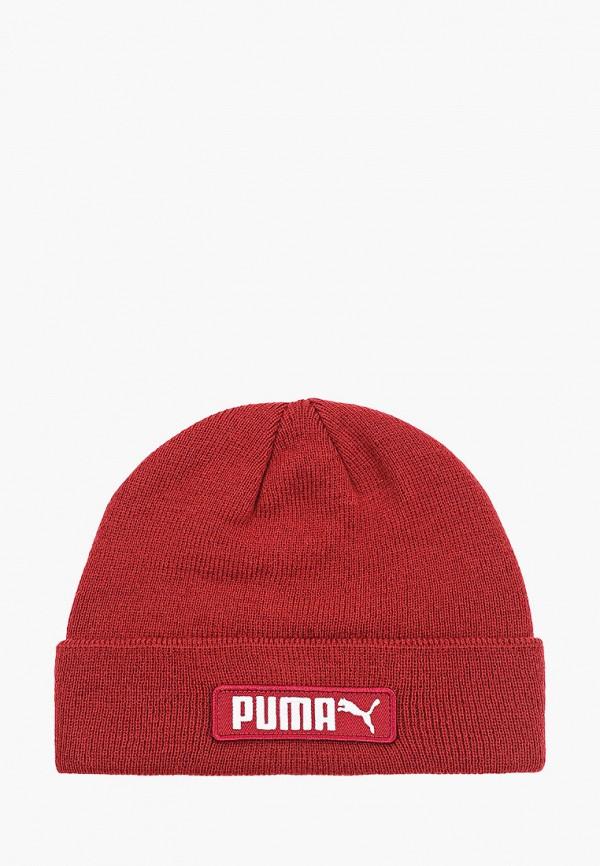женская шапка puma, бордовая
