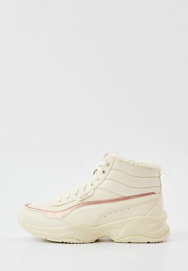 женские высокие кроссовки puma, белые