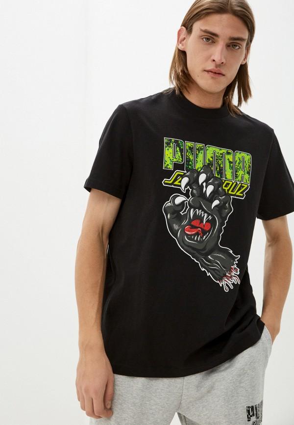 мужская футболка с коротким рукавом puma, черная