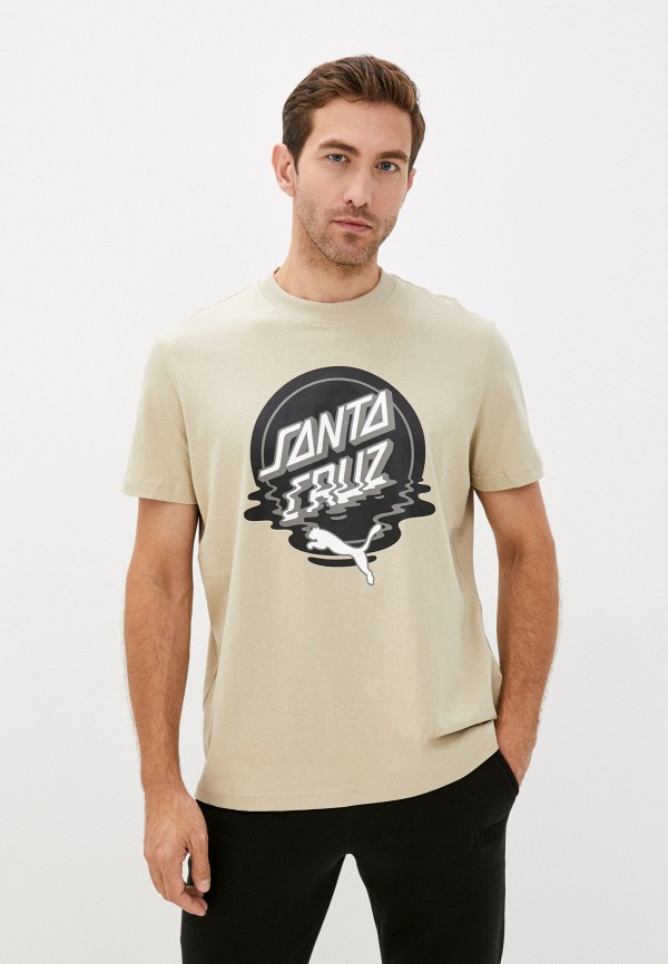 мужская футболка с коротким рукавом puma, бежевая