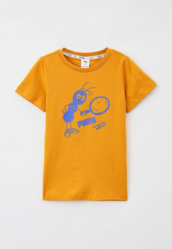 футболка с коротким рукавом puma малыши, желтая