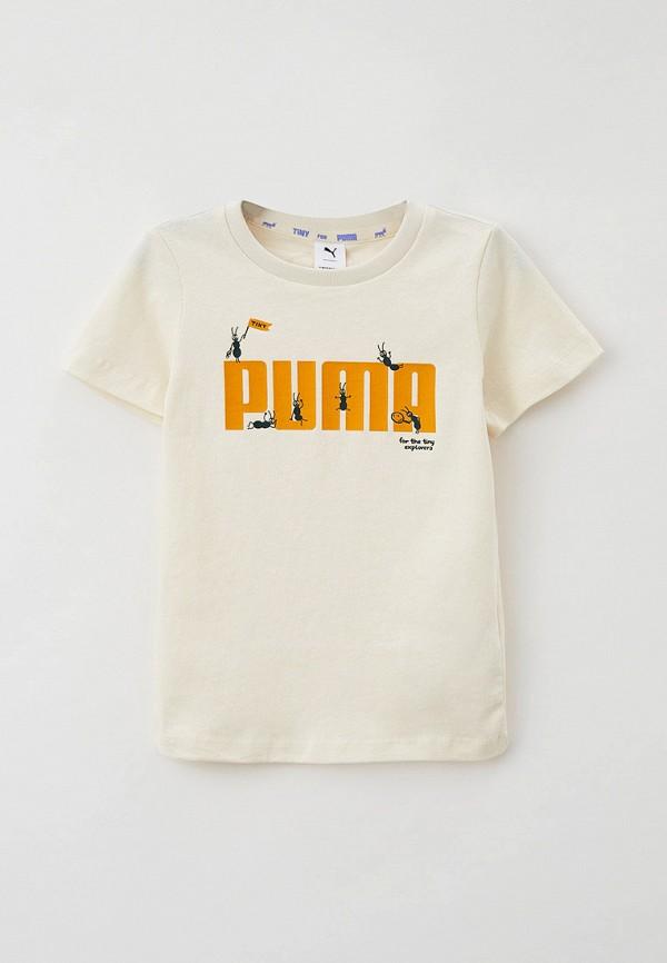 футболка с коротким рукавом puma малыши, бежевая