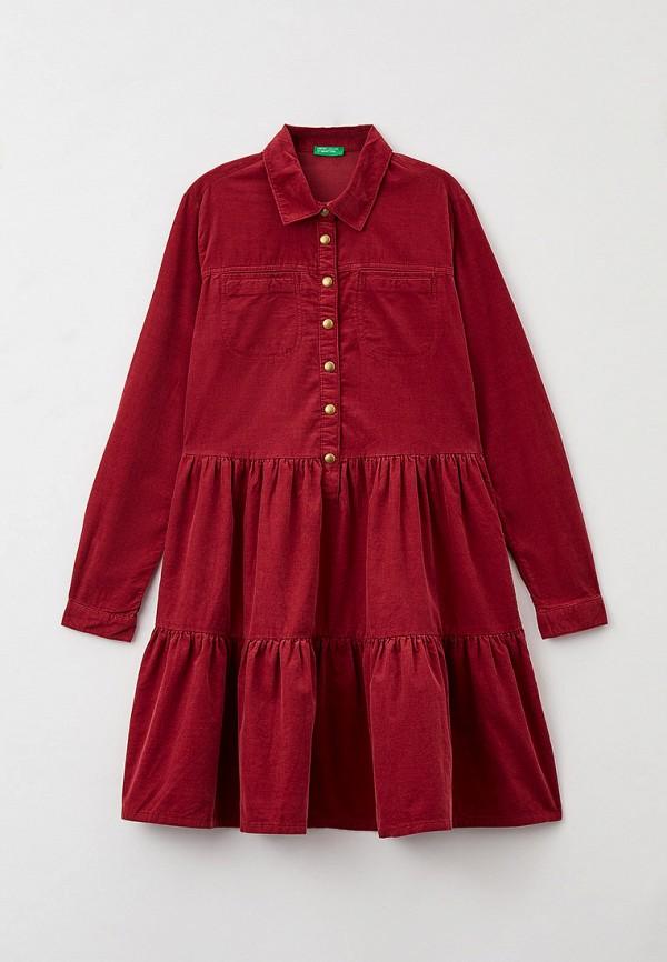 повседневные платье united colors of benetton для девочки, бордовое