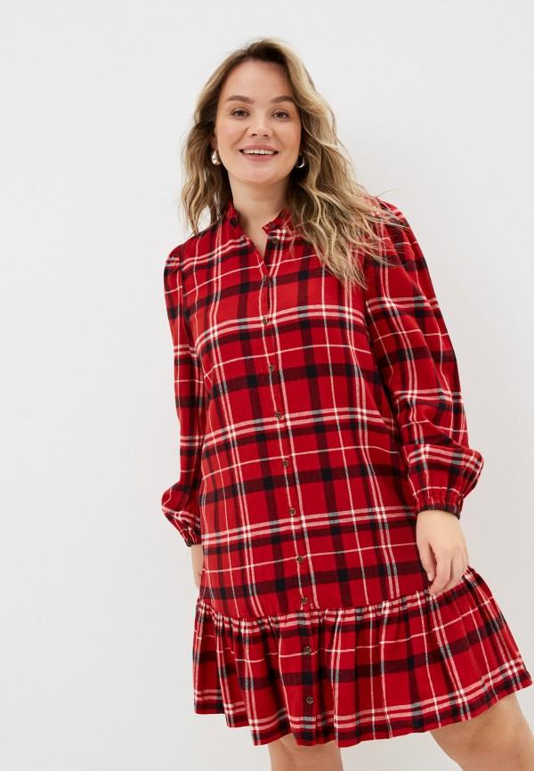 женское платье-рубашки marks & spencer, красное