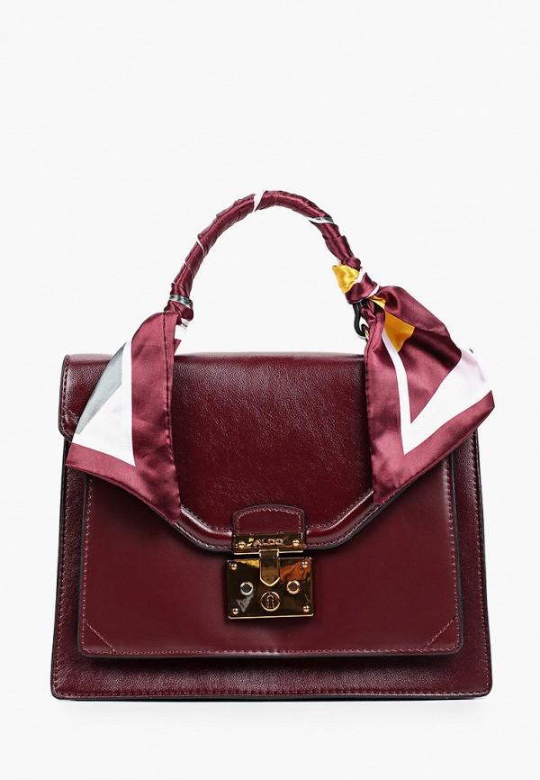 женская сумка с ручками aldo, бордовая