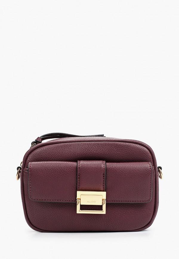женская сумка через плечо aldo, бордовая