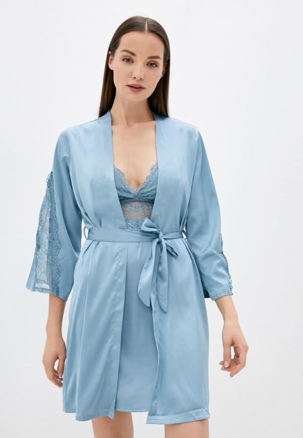женский халат infinity love, голубой