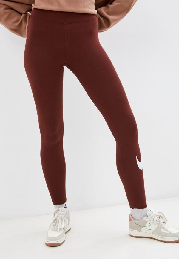 женские спортивные леггинсы nike, бордовые
